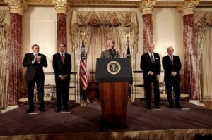 Barack Obama, Joe Biden, Hillary Rodham Clinton, Richard Holbrooke, George Mitchell