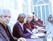 Eduardo Reyes, Carme Forcadell i Muriel Casals en l'última reunió del PNDD