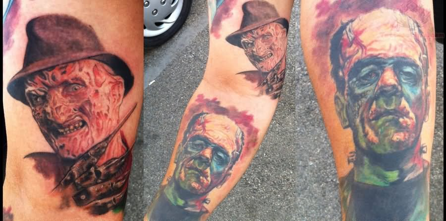 freddy-krueger-and-frankenstein-color-ink-tattoo